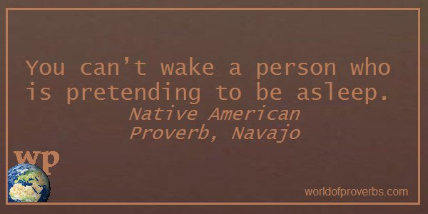 Native American Proverb —        You can't wake a person who is . . .  || #Quotes  https://t.co/LWqc8oDsOo