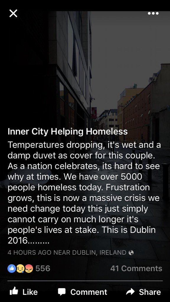 I'm angry with the hijacking of the memory of #1916 by hypocritical politicians. They have abandoned our #homeless https://t.co/eKLBly50yz