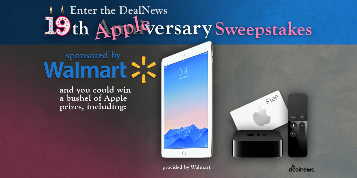 We've teamed up with @Walmart to give away an #iPad #AppleTV and more. RT and enter here: https://t.co/mcBet1UNPt https://t.co/l1PE5wJVCA