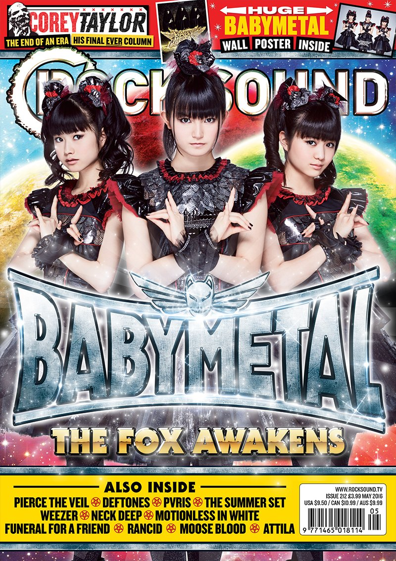 Please welcome BABYMETAL to the cover of Rock Sound! Available worldwide NOW! https://t.co/RlfWx7...