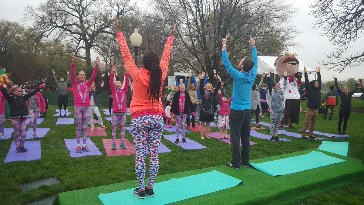 Reach up, take a deep breathe...the Yoga Garden is stretching it out on the South Lawn. #EasterEggRoll. https://t.co/q7yjWOhSuT