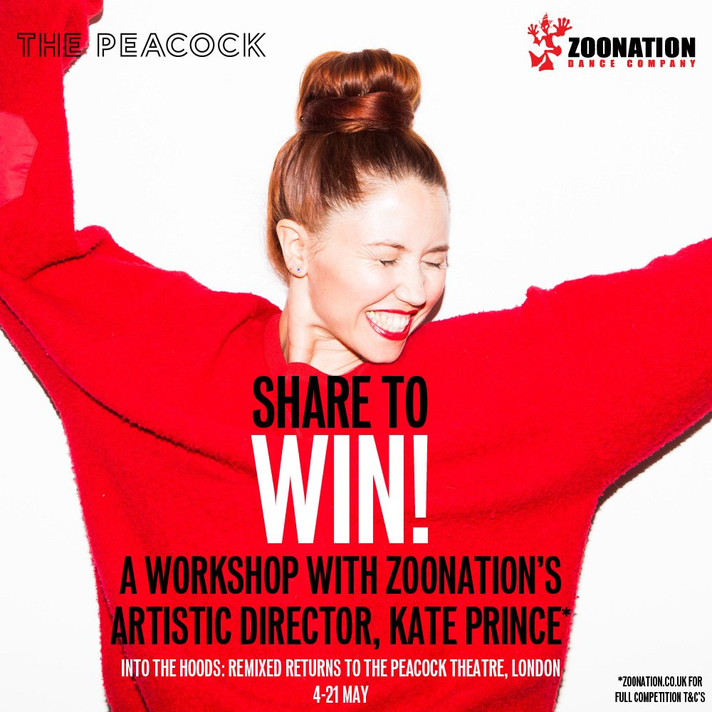 #WIN a workshop with Kate Prince! To enter, follow us and RT! #Intothehoodsremixed returns to London 4-21 May! https://t.co/IsLDGxaZEy