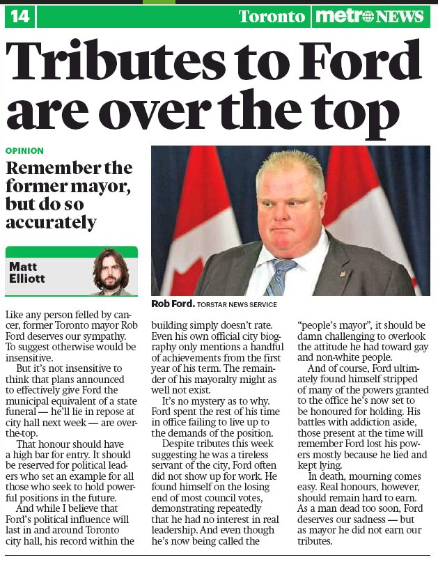 Metro asked me for my thoughts on Rob Ford's city hall funeral last week. In summary: he didn't earn it. https://t.co/Ehd7eMg7VU