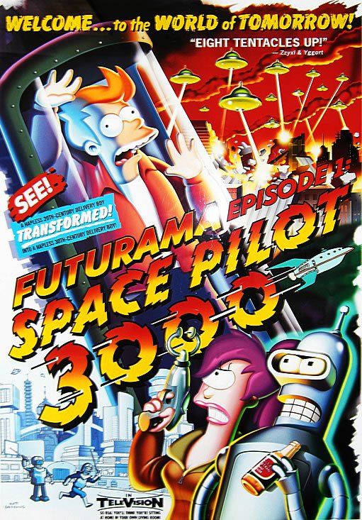 """Never forget. 17 years ago, #Futurama premiered on TV with episode 1acv01 - """"Space Pilot 3000"""" https://t.co/lsO9TCch1d"""
