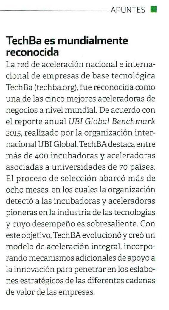 """""""TechBA es mundialmente reconocida"""" vía @Entrepreneur en su reciente edición, página 101 https://t.co/Gmt14waIPb"""