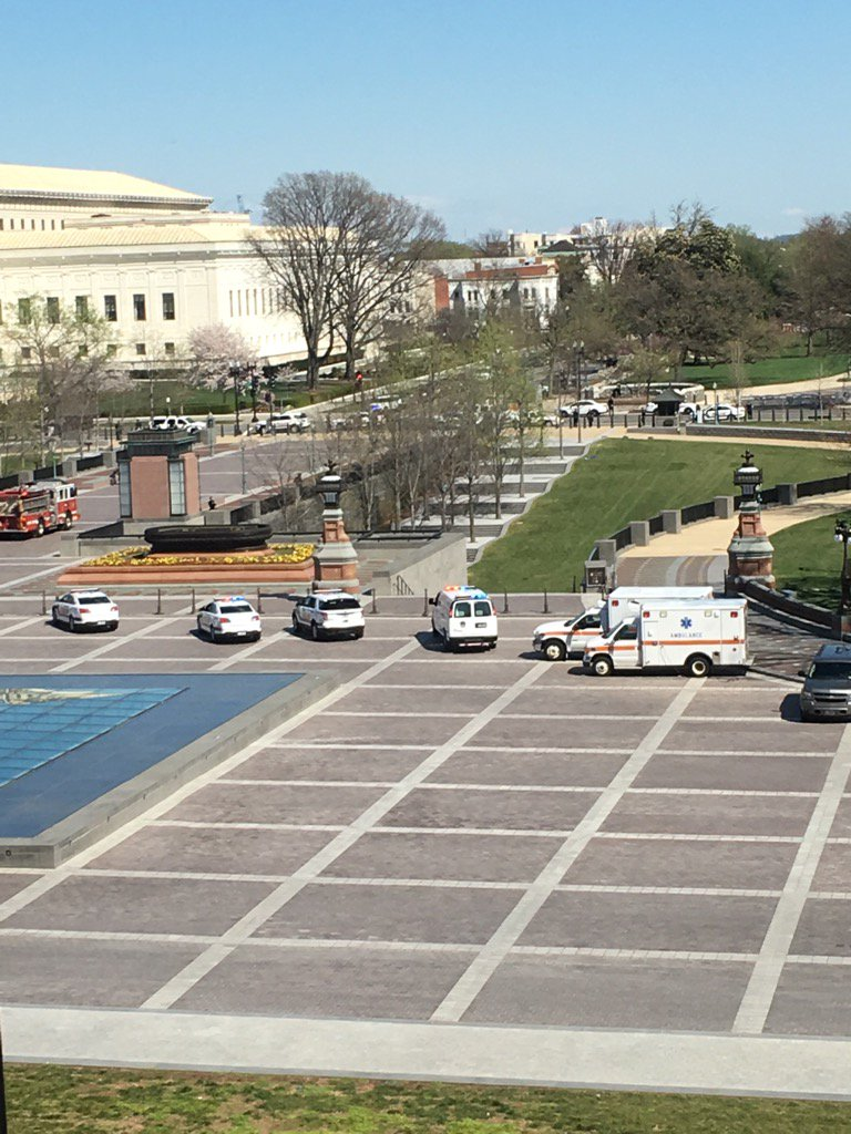 Lots of ambulances are racing to the US Capitol, staging near the Capitol Visitors Ctr. We are sheltering in place. https://t.co/RKMe4jp0M0