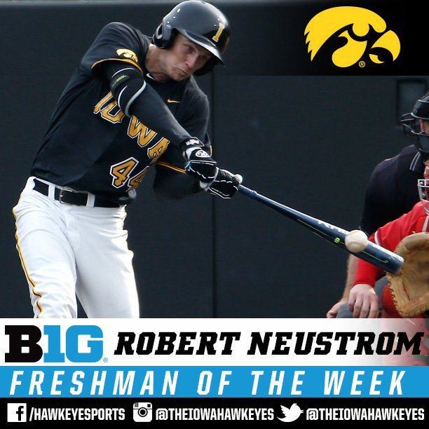 Congrats to @RobertNeustrom for earning B1G Freshman of the Week honors! #Hawkeyes https://t.co/JdMQJfl0Ir