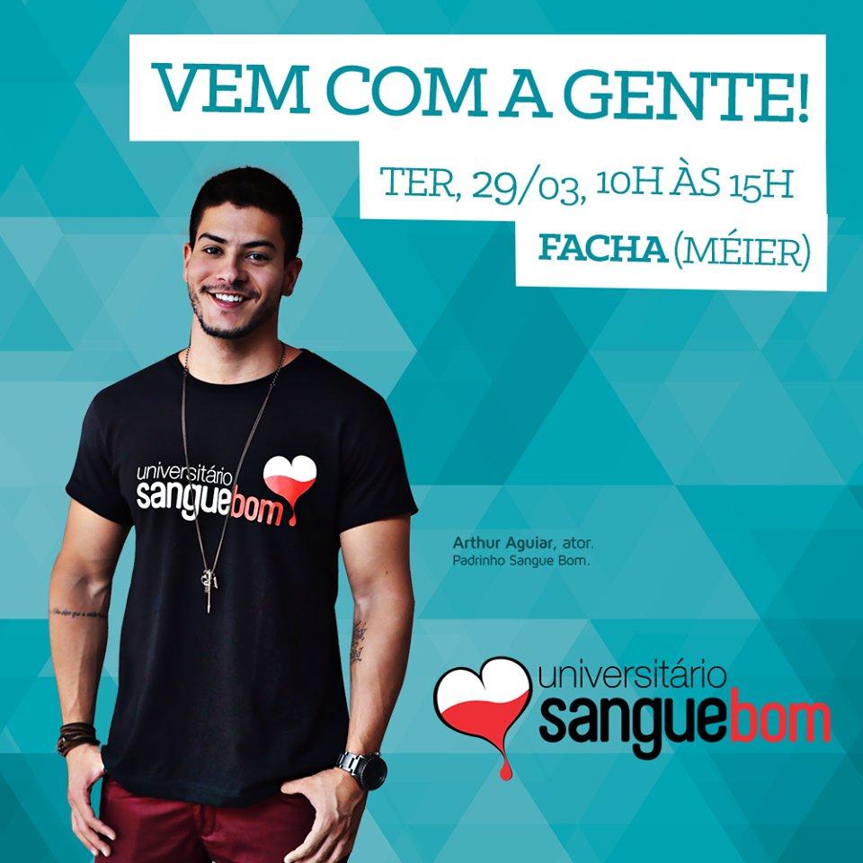 Doe sangue e salve vidas! ❤ Uma parceria @FaculdadeFACHA, @Hemorio e Universitário Sangue Bom. https://t.co/9gQn5bv7jL
