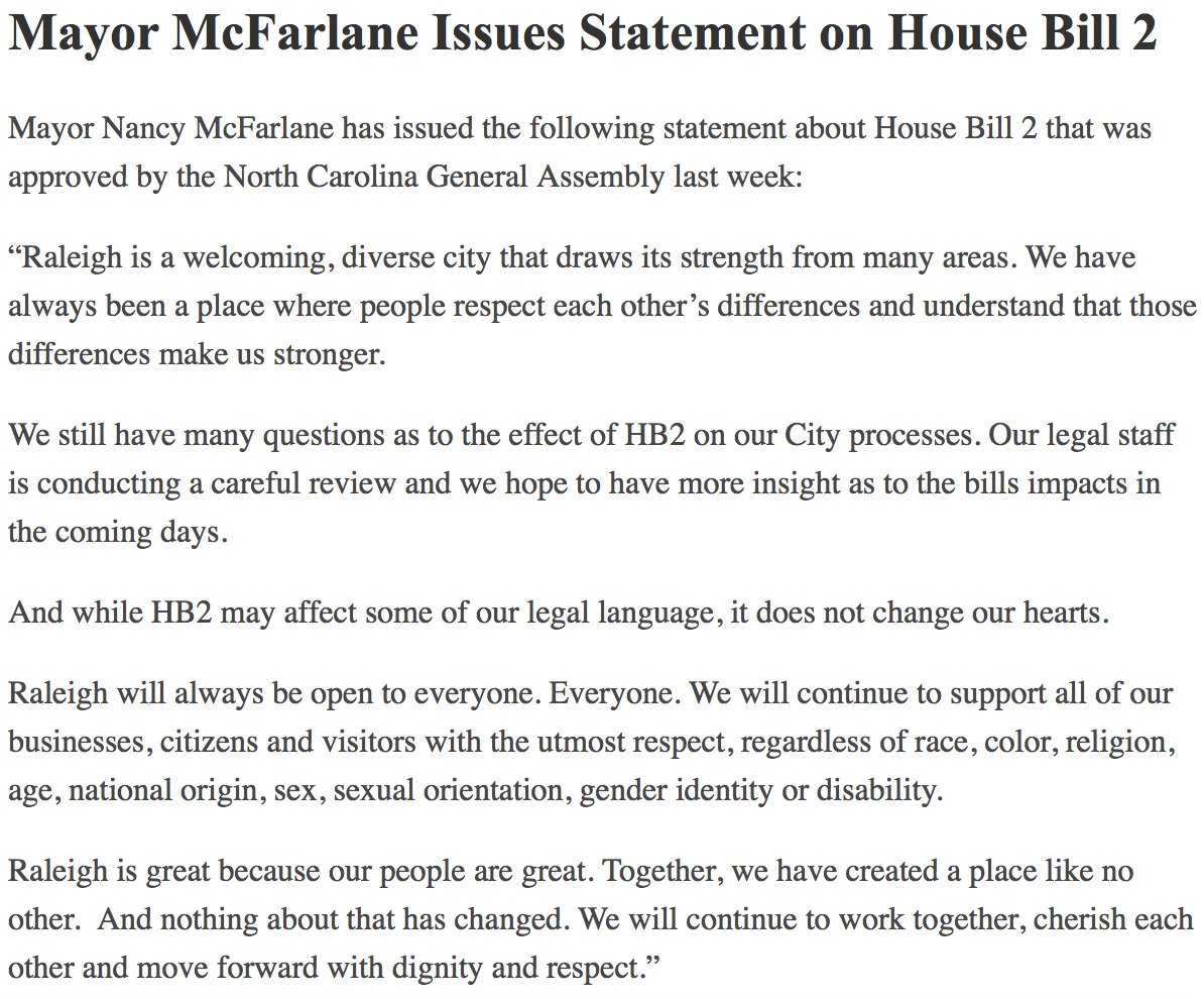 Mayor @NancyMcFarlane has issued a statement on #HB2. https://t.co/EY8bHje8Ok