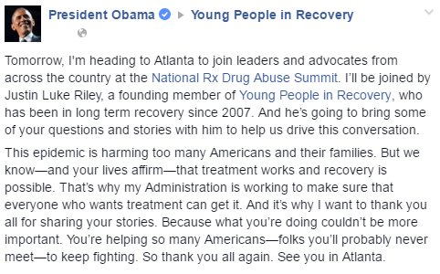 .@POTUS is headed to #RxSummit with @YngPplRecover advocate @JustinLukeRiley! His FB post: https://t.co/lQHXu13BBq https://t.co/KYYqe3O8em