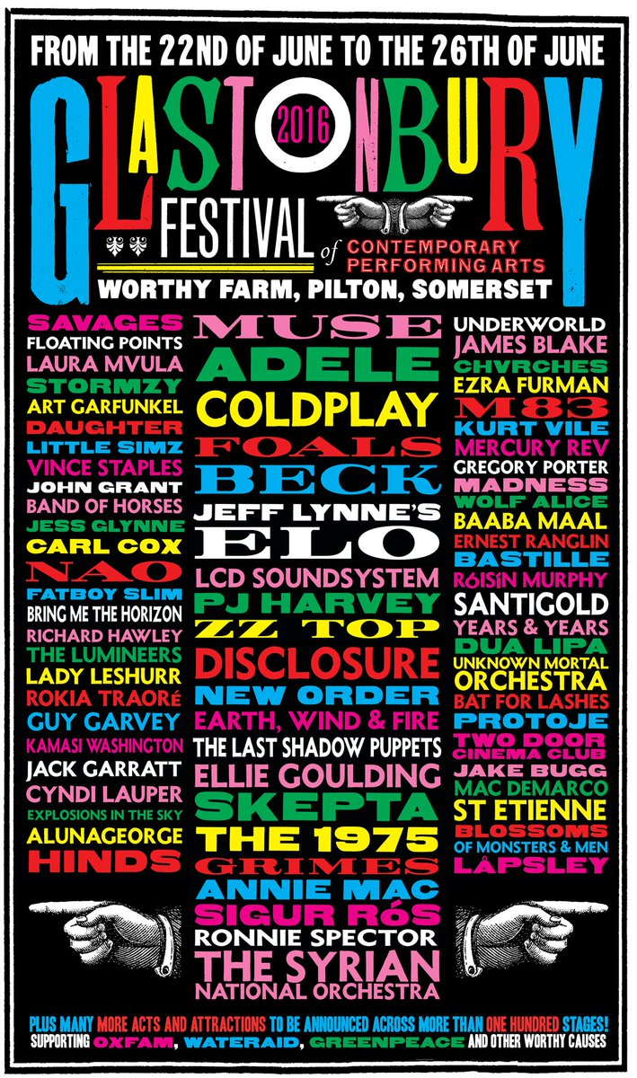 We're pleased to reveal our first Glastonbury Festival 2016 line-up poster (by Stanley Donwood)… https://t.co/k6t3d7b1PH