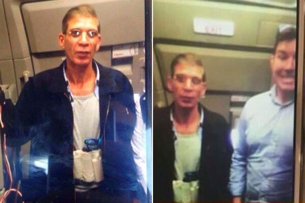 A guys actually took a selfie with the hijacker of #EgyptAir, mid-hijack! The selfie to end all selfies :) https://t.co/DingfVhKbM
