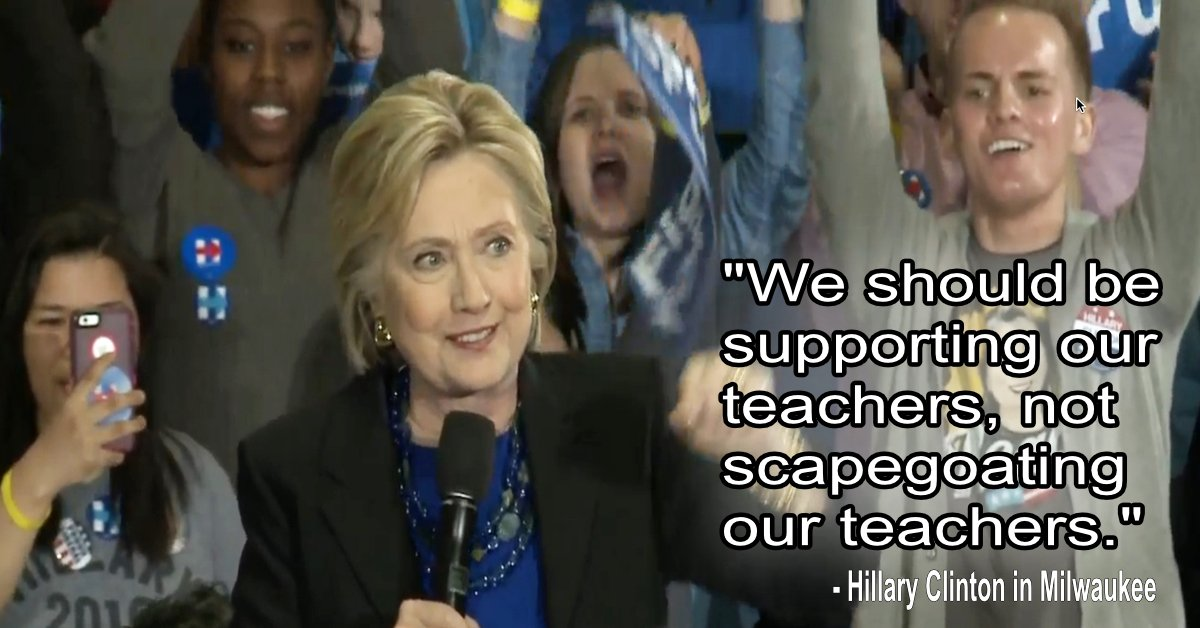 #HillaryClinton stands up for Wis. public schools and educators in Milwaukee. #ImWithHer https://t.co/JzsWOIAm0L https://t.co/YtiPYGljBr