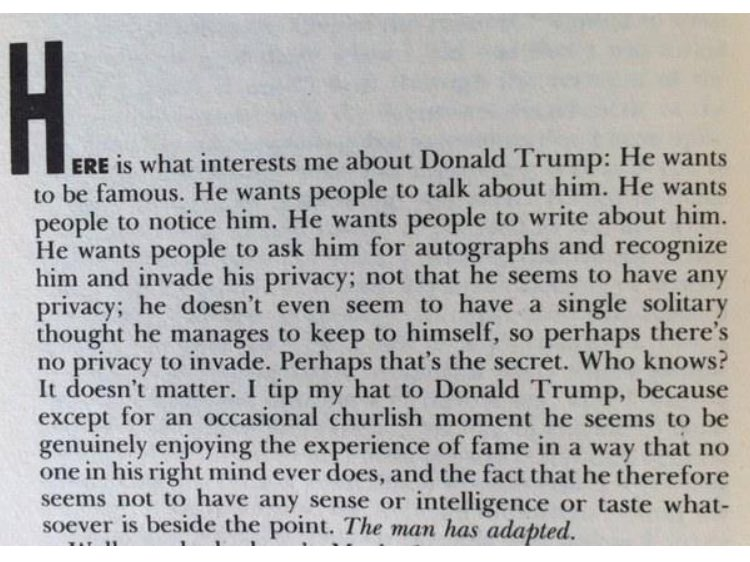 Nora Ephron on Donald Trump, from Esquire 1989 https://t.co/hGLEdGfbNt