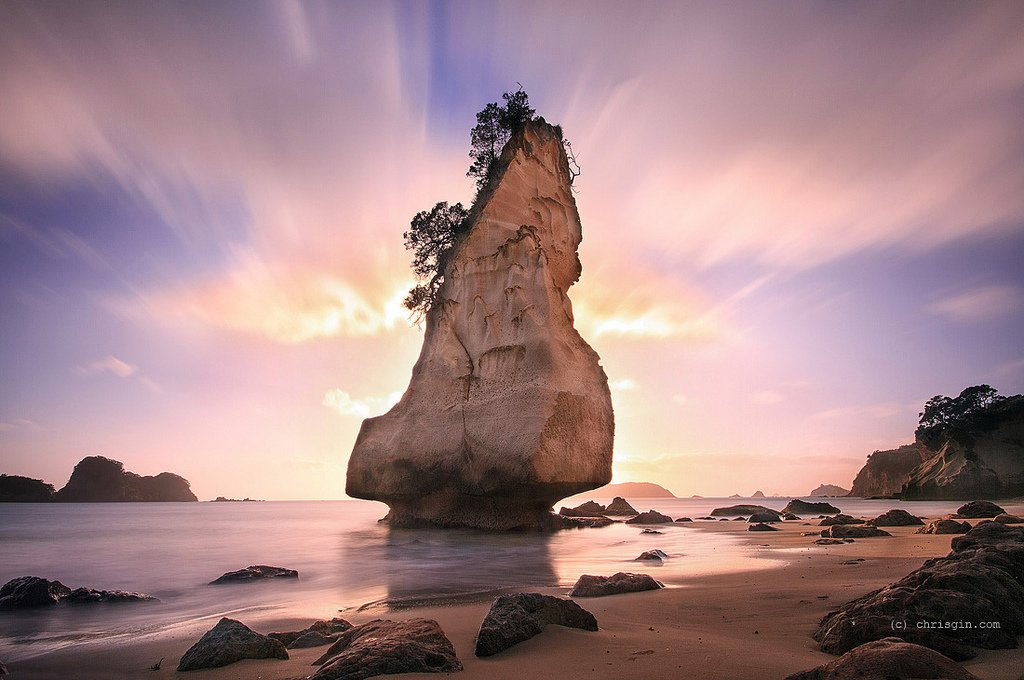 #Sunrise at Cathedral Cove, Coromandel Peninsula | Photography by ©Chris Gin https://t.co/bsLtxjUAA5