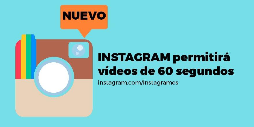 ✱Lo nuevo de @Instagram  Llegan los vídeos de 60 segundos, en los próximos meses lo tendremos :D  #Triunfagram https://t.co/Nj1ZdIxUKd