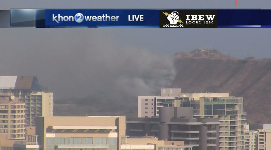 BREAKING NEWS: Brush fire on the slopes of Diamond Head near Kapiolani Community College. https://t.co/FLc4OJyXhE