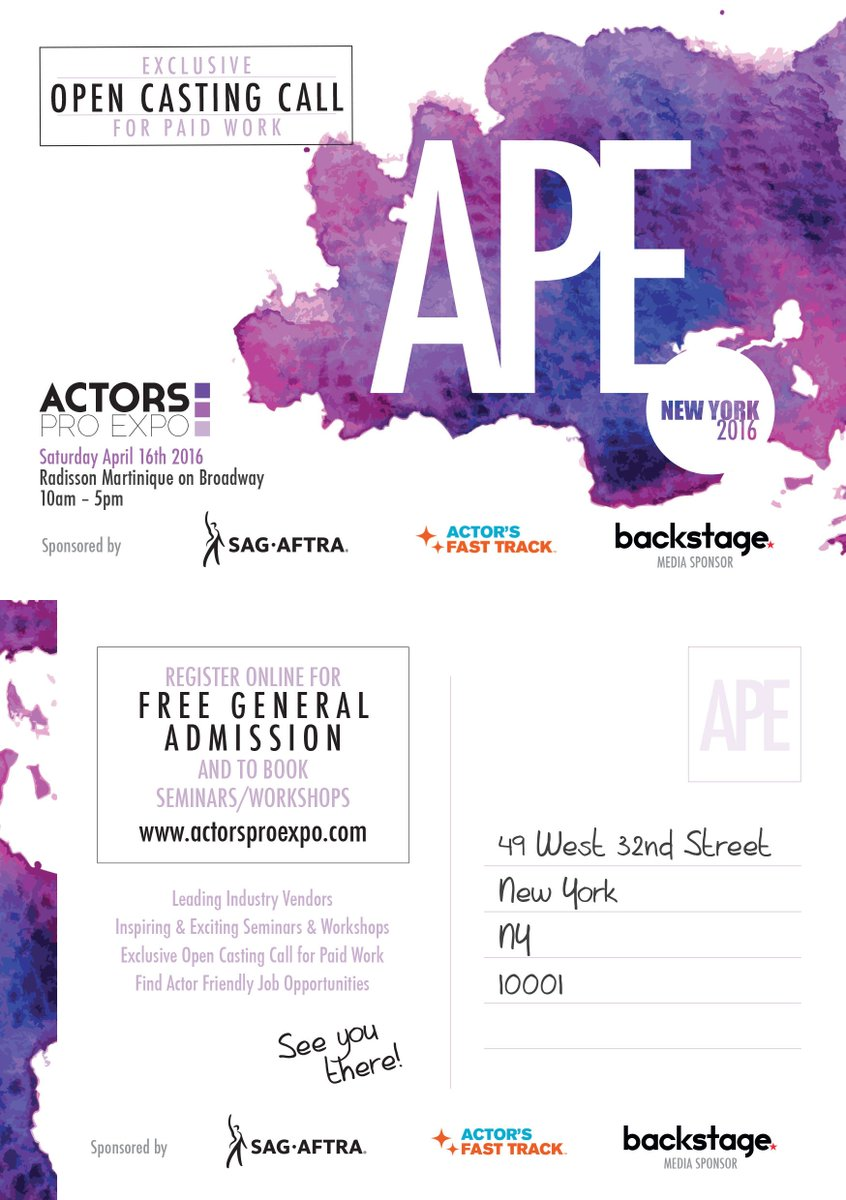 Actors Pro Expo is coming to NYC April 16th. Workshops, seminars and more. https://t.co/dZ6gofcoiM  @ActorsProExpo https://t.co/BeiAVzf8EG