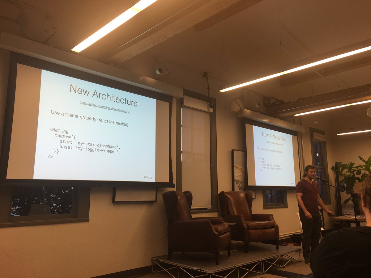 .@nikgraf talks at @Stripe about his recommendations for writing @reactjs UI libraries: https://t.co/lII1CDTct3 https://t.co/DiNRTRJ3UX