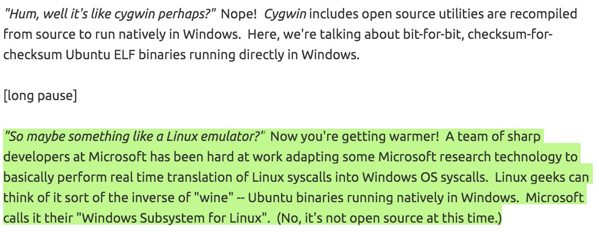 "Microsoft implemented ""reverse-Wine"" to make Linux work natively on Windows. https://t.co/RjrgW80Qmp https://t.co/BnDTIflnos"