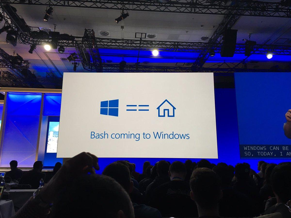 Web開発のプラットフォームにするために、Bashを提供と。これは良い。#decode16 #Build2016 https://t.co/oFxfngGsIG