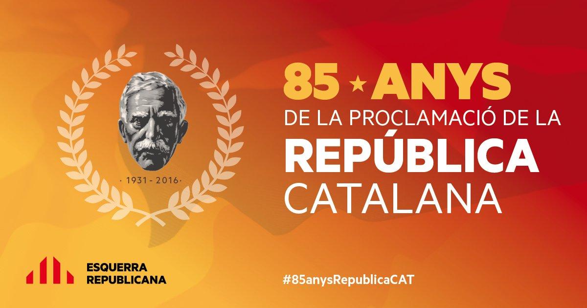 Avui fa 85 anys Macià proclamava #RepúblicaCatalana. Ben aviat complirem els anhels del poble! #85anysRepublicaCAT https://t.co/4oej9UKMHz