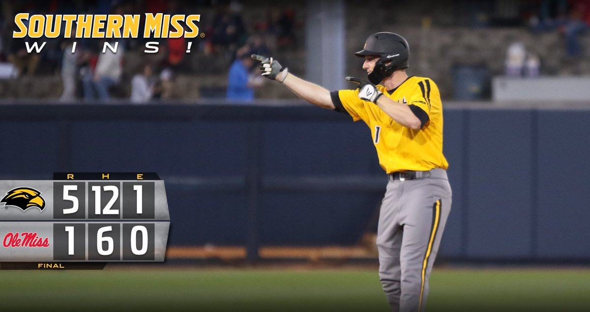 Golden Eagles Win! #18 @SouthernMissBSB takes down #8 Ole Miss on the road to improve to 26-8! #SMTTT https://t.co/hp1zmSwVvA