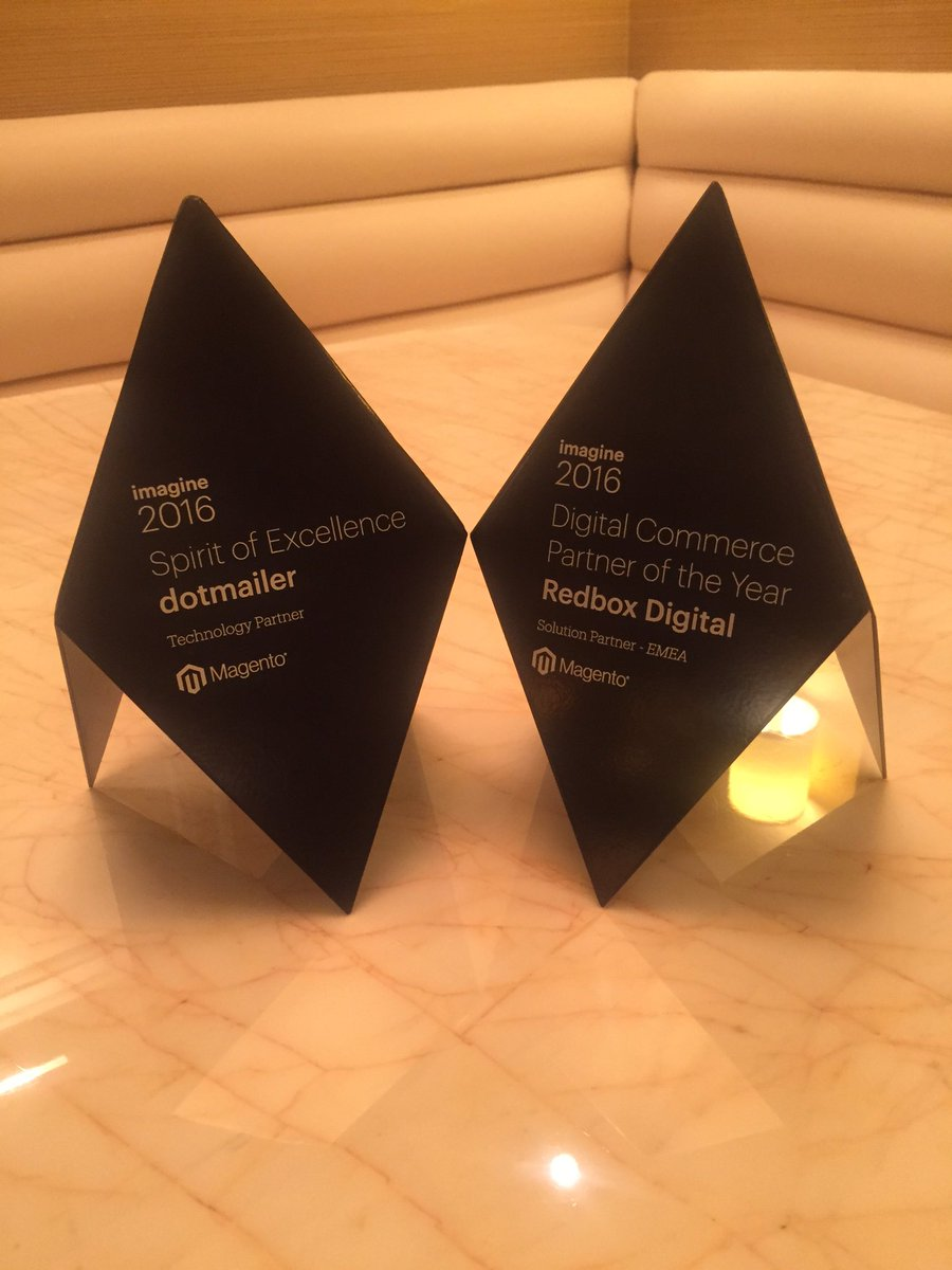 AnupKhera: Award Winners!! @dotmailer & @redboxdigital!! 🏆🏆🏆🏆 #MagentoImagine #spiritofexcellence #imagine2016 #magento https://t.co/9D77jnUIKW