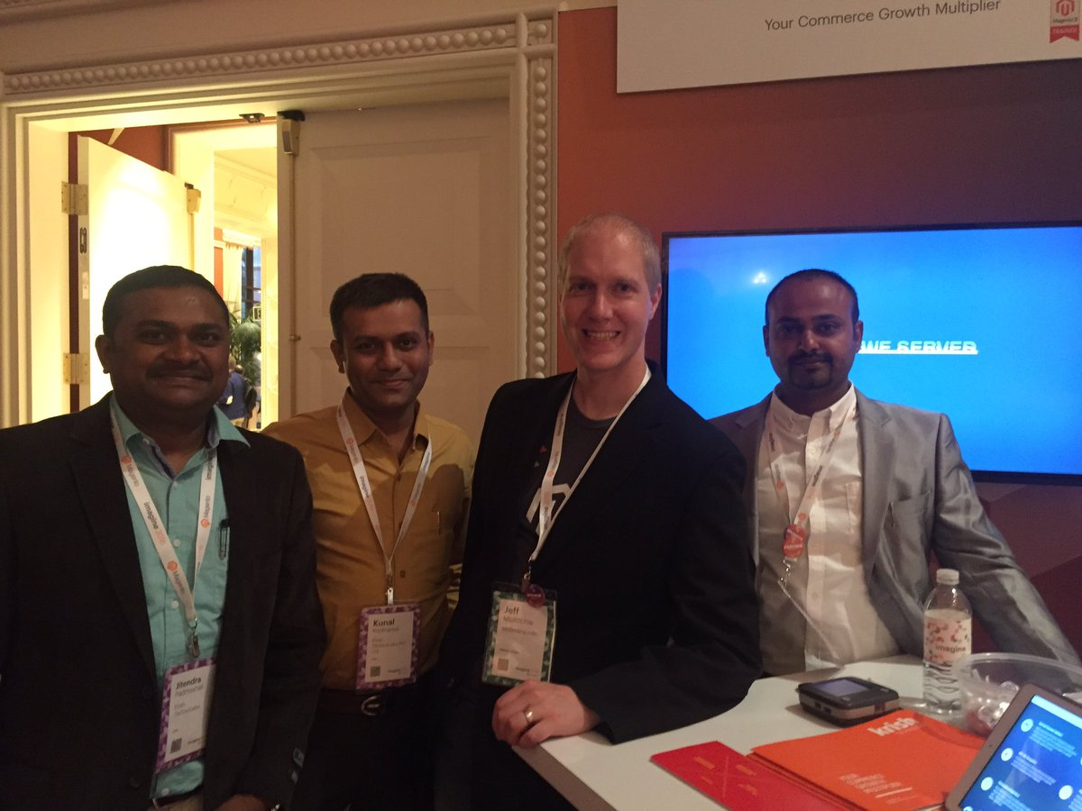 vatsalshah: #MagentoImagine client visit @krishtechnolab booth 14, Jeff from https://t.co/Jb2w5r0a9u. Appreciation to team https://t.co/IYEGKd3NrZ