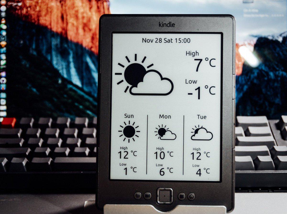 《把你的旧 Kindle 变成桌面气象站》 - https://t.co/X0yLeTVuCj #会玩 #好好的一个kindle #就这么废了 https://t.co/9YczNa1TB6