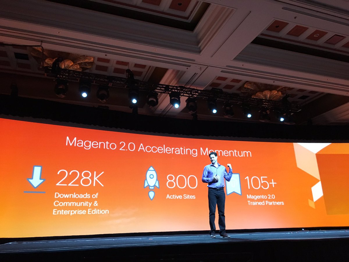 brpressley: Huge momentum for #Magento2 - 100s of live sites - the future of commerce is here AGAIN #MagentoImagine https://t.co/6sBxAckHuZ