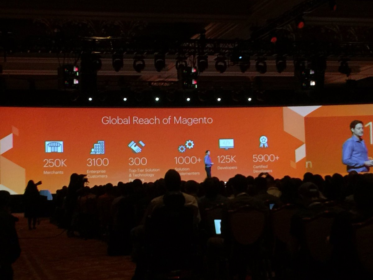 WARobins: .@mklave1 #MagentoImagine  keynote - 'We Are @magento' Customers, SIs (@blueacorn) + Tech partners (@foomanNZ) https://t.co/IN4Zyjx514