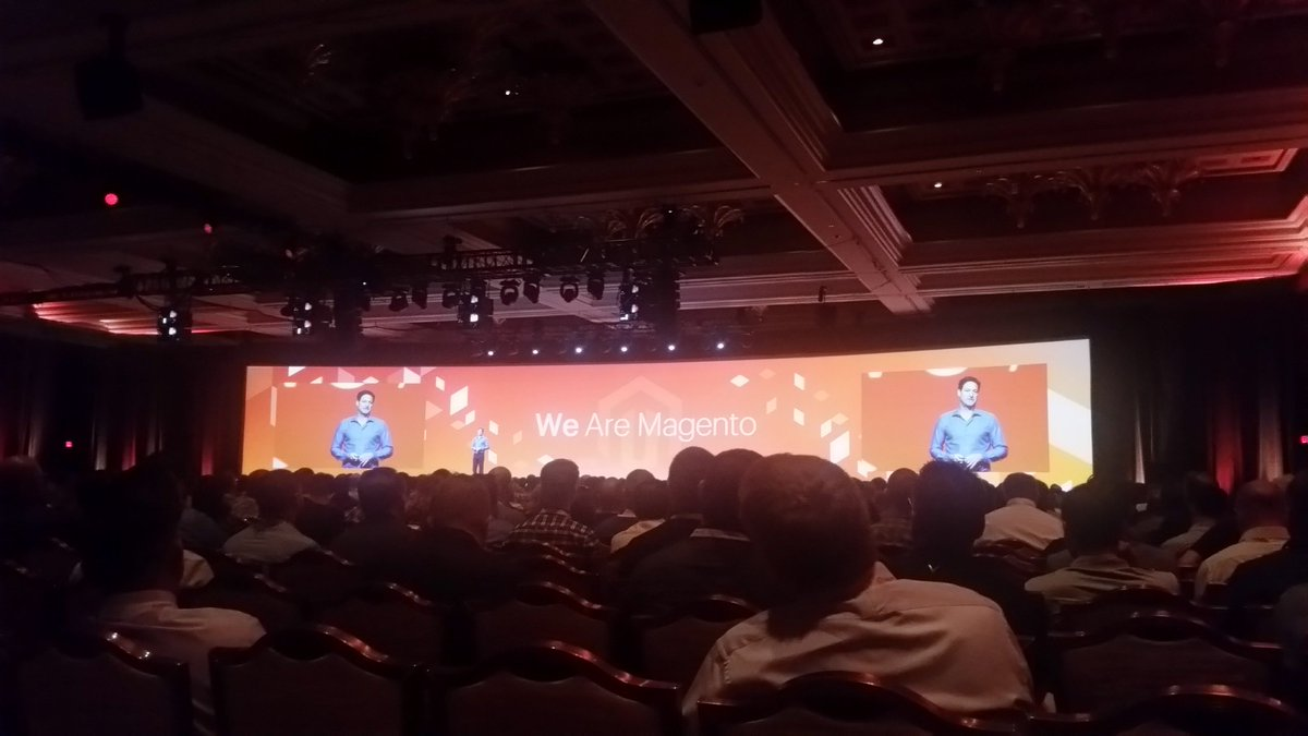 Tryzens: Opening keynote from @mklave1 at #MagentoImagine . Over $50b now being processed through @magento platform each year https://t.co/JFHUPpcg00