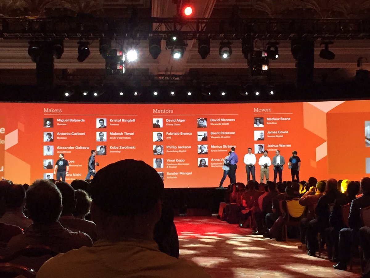 PieterCappelle: The Magento Masters! #MagentoImagine https://t.co/zoXVePdbzR
