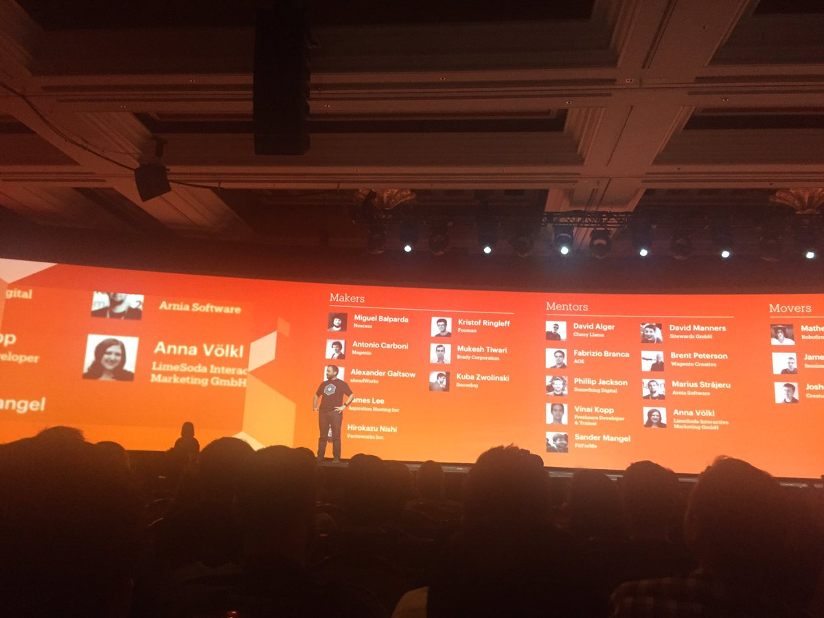 emily_a_wilhoit: Time to recognize the developers- the makers, mentors & movers of @magento! Awarded by @benmarks #MagentoImagine https://t.co/oxvsVdUVa7