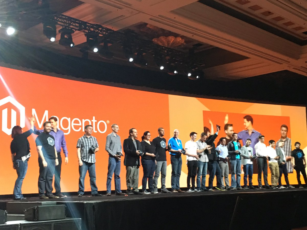 magentogirl: The #magento Masters take the stage!!!!!!! Lots of clapping #MagentoImagine https://t.co/pMbjB2d4el