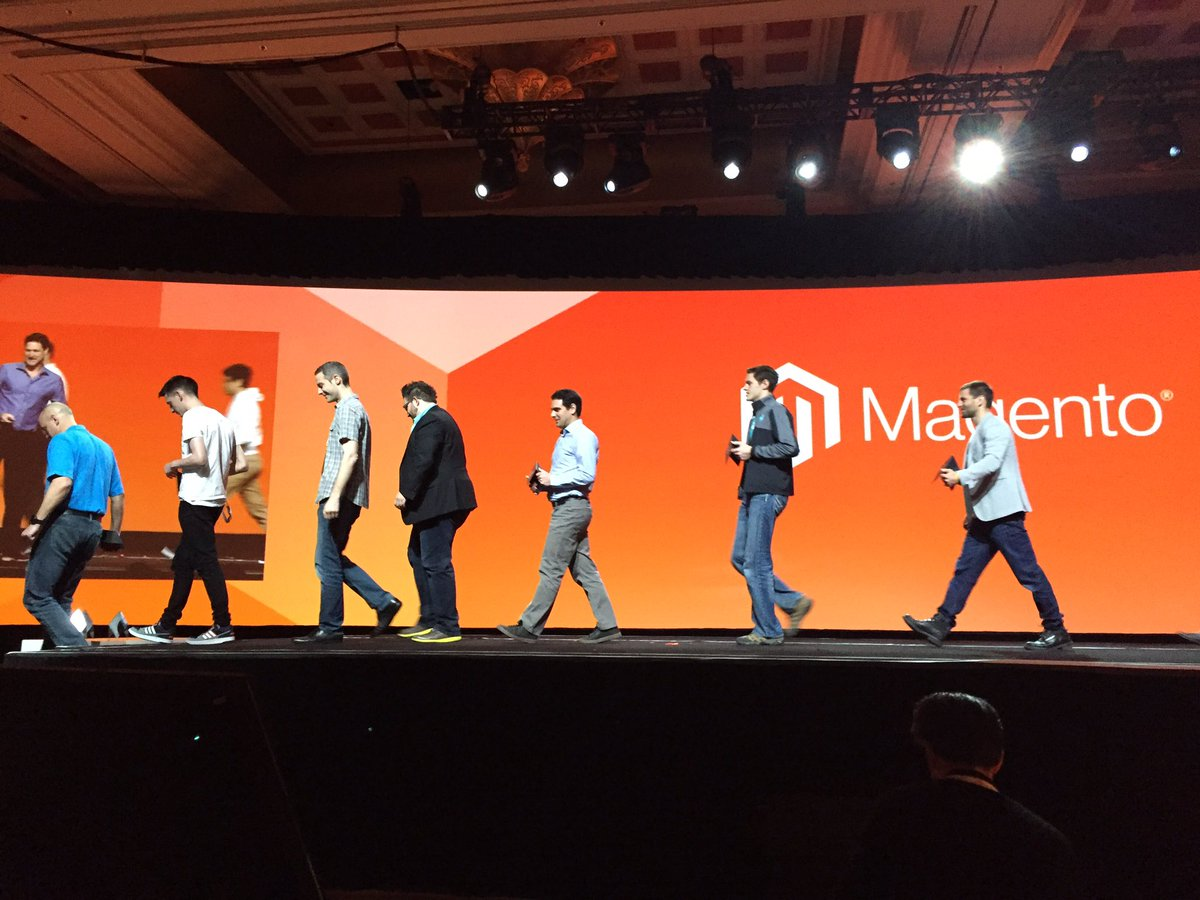 ProductPaul: Damn. I was clapping so long I missed the shot. Magento Masters are inspiring #MagentoImagine https://t.co/ektEkvDagQ