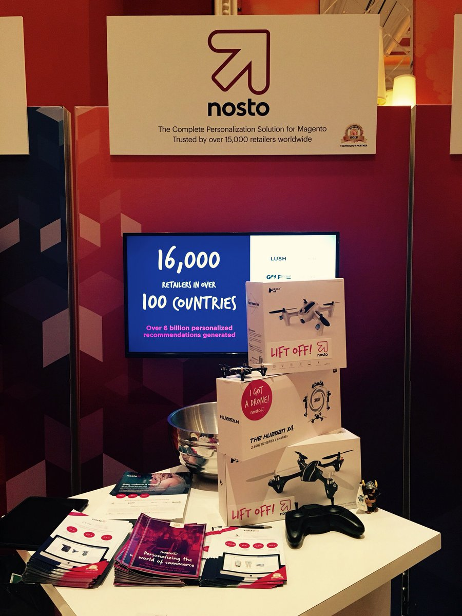 NostoSolutions: Once again it's on! We're giving away a drone every hour so pop by booth 5 to be in with a chance! #MagentoImagine https://t.co/b5CO6yM8Fj