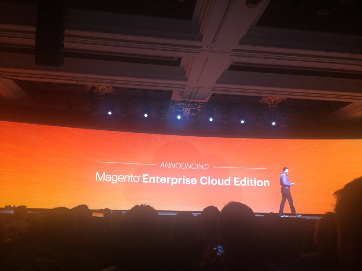 emily_a_wilhoit: Announcement! @mklave1 reveals first ever Magento Enterprise Cloud Edition- 'it's a game changer!' #MagentoImagine https://t.co/kjPOP8xmdi