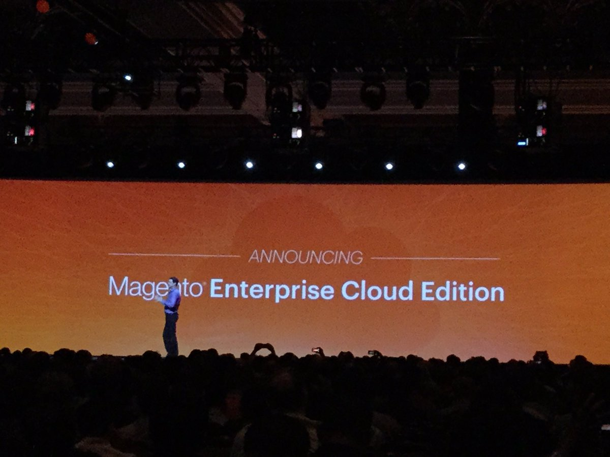 tomik99: Magento Enterprise Cloud Edition at #MagentoImagine - years too late but we have it finally. https://t.co/8LNiq9xEzY