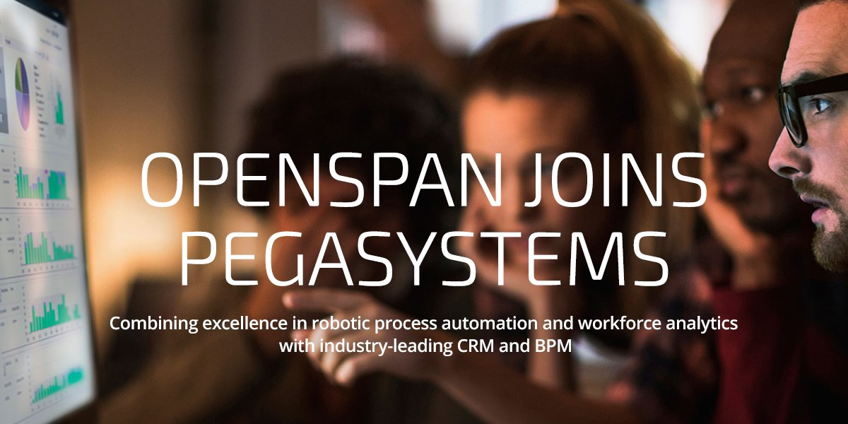 .@OpenSpan joins Pega– bringing Robotics, CRM & BPM together for the first time. Learn more: https://t.co/O4E3M5ty1E https://t.co/WNmkrZniyH