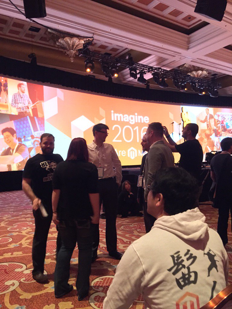 JoshuaSWarren: The fearless, tireless inspiration for all of us Magento Masters - @benmarks & @sherrierohde #MagentoImagine https://t.co/vtG6F8mSHX