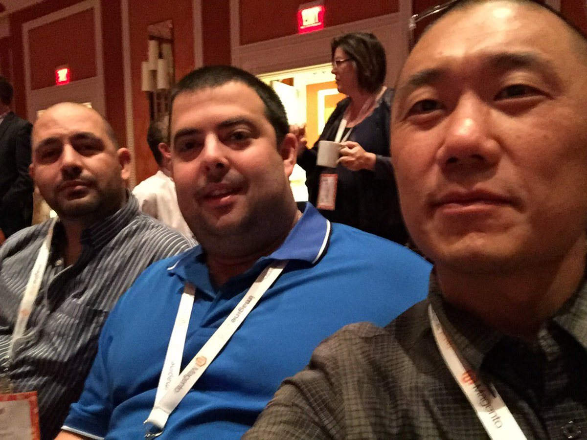 magento_rich: Kickin it with @asafmax and @mgoldman713. Waiting for the session to start. Seats are filling up! #MagentoImagine https://t.co/xmZsrVPhfq