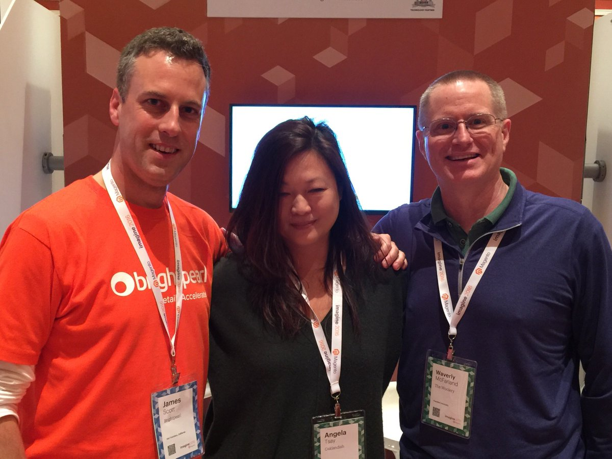 BrightpearlHQ: Our very own @ukjamesscott with Angela from @0aklandish and Wave from @TheWooleryTeam at #MagentoImagine https://t.co/vNY5Mxd0iK