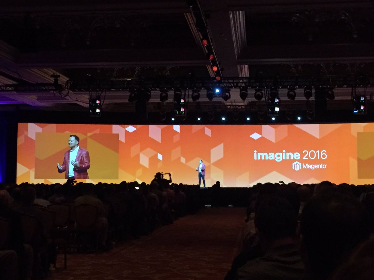 magento_rich: .@JC_Climbs on stage warming up the crowd. #MagentoImagine https://t.co/BuPin9H5kz