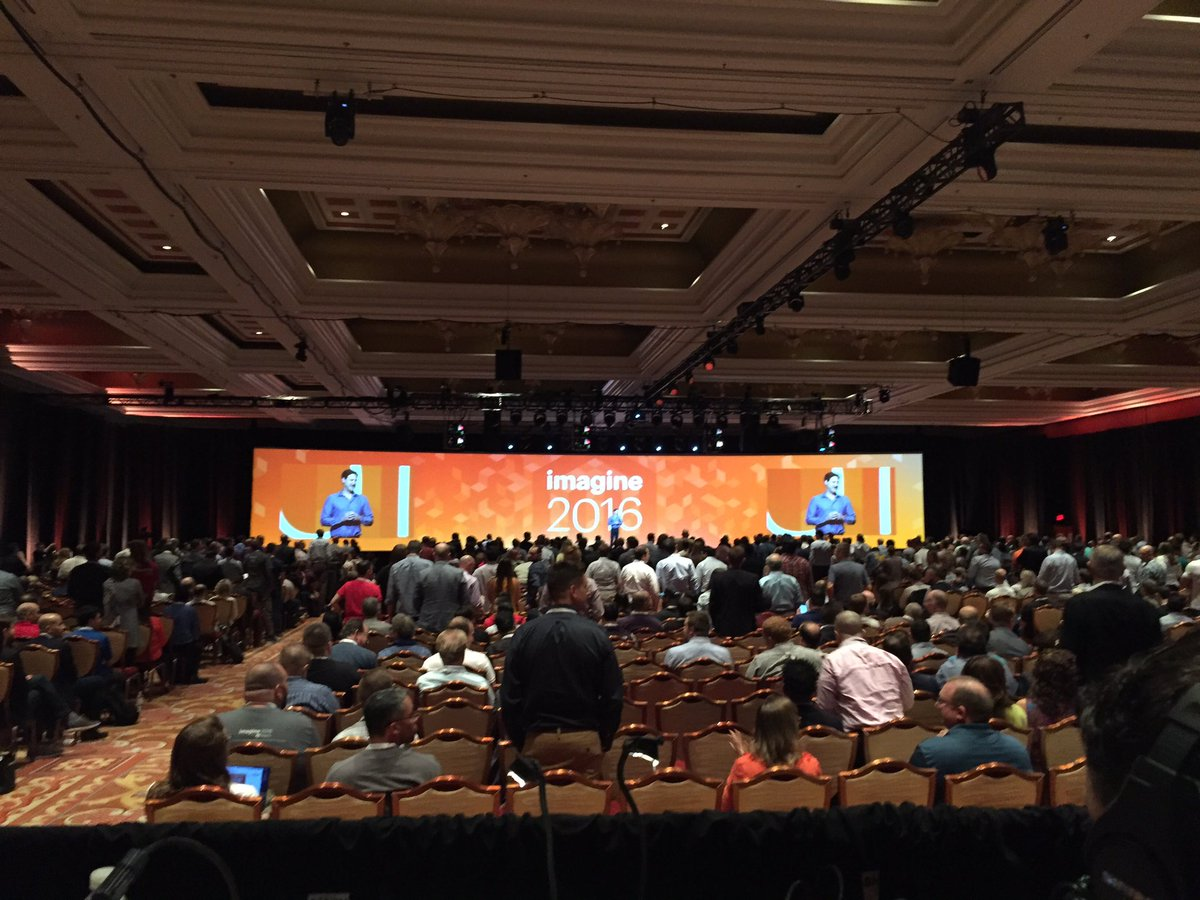 magento: 'First timers stand up' - @mklave1 Welcome to #MagentoImagine  2016! https://t.co/ajuusJgmz2