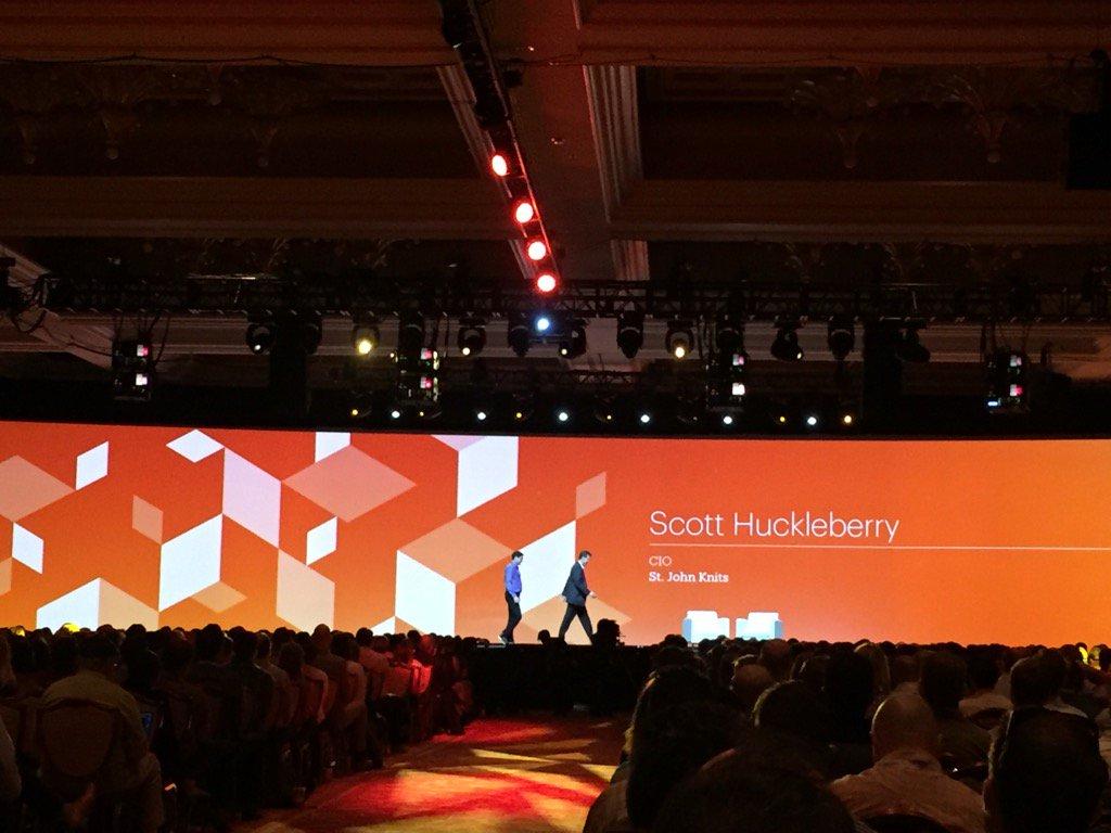 magento_rich: Scott Huckleberry from St John Knits on stage now. #MagentoImagine https://t.co/60CcIu2D2E