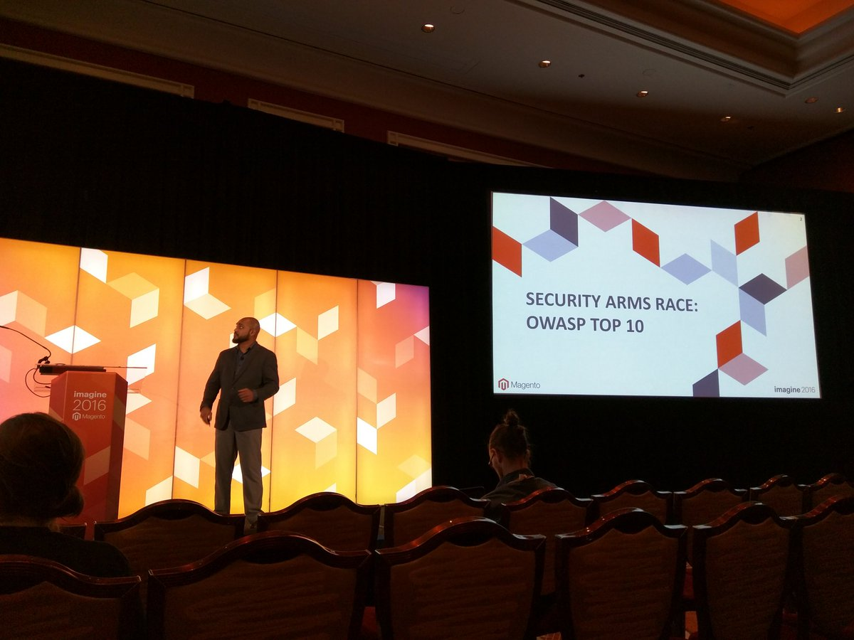 rescueAnn: .@_Talesh on stage talking about the OWASP Top10 #MagentoImagine https://t.co/2bC1BxtZaP
