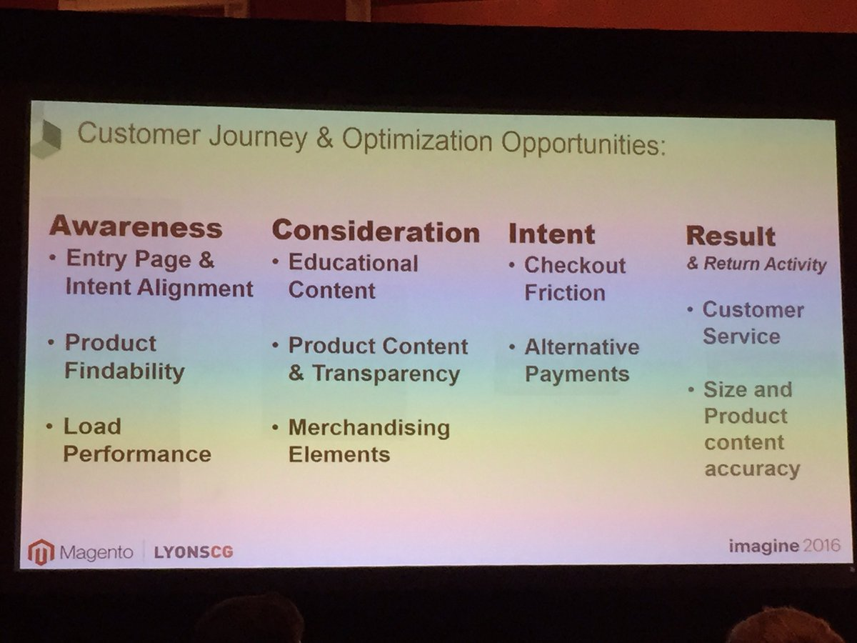 annhud: Customer journey and optimization opportunities #MagentoImagine @LYONSCG #customerexperience #data https://t.co/mGbGqjjIHQ