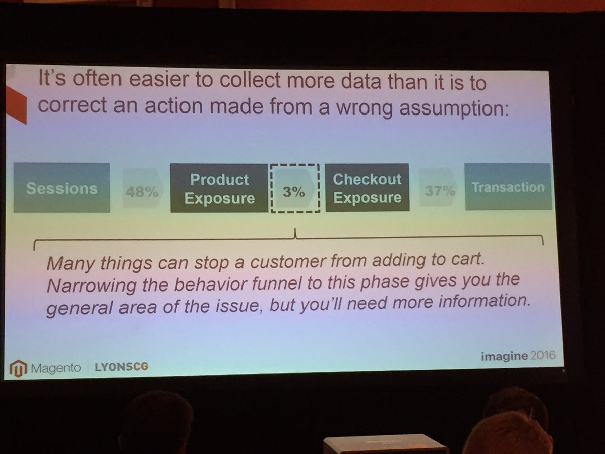 annhud: Sometimes the data will show the general area of the problem but doesn't pinpoint it @LYONSCG  #MagentoImagine https://t.co/6j6I9jAmeC
